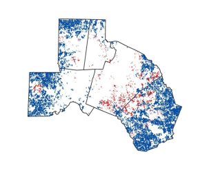 Blue – Top scoring rural farm parcels. Red – Top scoring urban farm parcels.