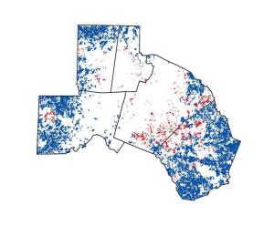 Blue – Top scoring rural farm parcels. Red – Top scoring urban farm parcels.