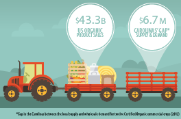 Gap in the Carolinas between the local food supply and wholesale demand for 12 Certified Organic crops (2012)