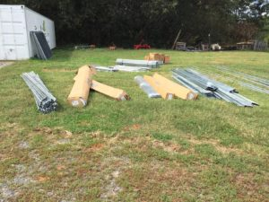 Unloaded pieces on ground